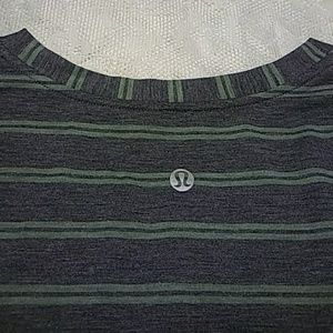 Lululemon grey and lime stripe color tee